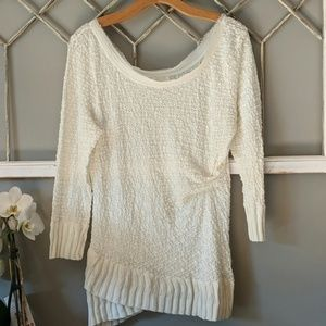 Anthropologie Deletta ivory lace crossover top